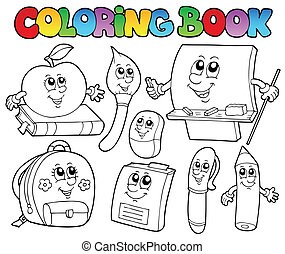 escola, coloração, 5, livro, desenhos animados