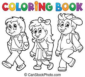 escola, coloração, crianças, tema, 2, livro