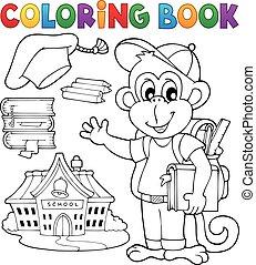 escola, coloração, macaco, 1, tema, livro