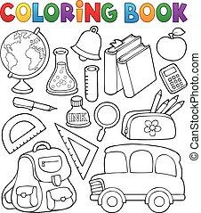 escola, coloração, objetos, relatado, 1, livro
