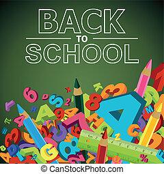 escola, colorido, letras, costas, penc, números, fundo