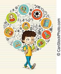 escola, coloridos, ícones, boy., costas, educação, caricatura