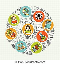 escola, coloridos, costas, icons., social, educação
