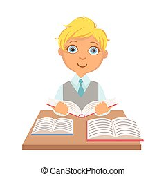 escola, coloridos, sentando, personagem, livro, estudante, escrivaninha, elementar, leitura