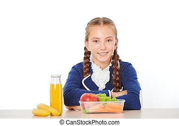 escola, comendo lunch, alimento saudável, menina