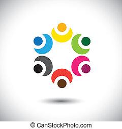 escola, conceito, coloridos, -, crianças, vetorial, círculo, tocando