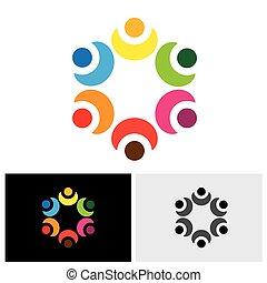 escola, conceito, coloridos, -, crianças, vetorial, logotipo, círculo, tocando, ícone