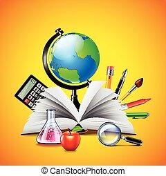escola, conceito, com, aberta, livro, e, ferramentas, ligado, fundo amarelo