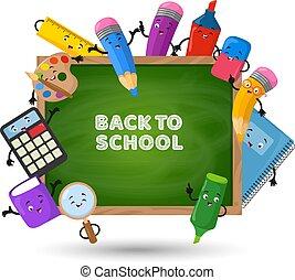 escola, conceito, costas, experiência., vetorial, materiais, educação