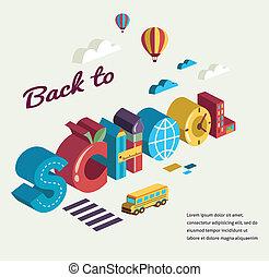 escola, conceito, texto,  -, costas, ícones, vetorial