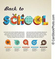 escola, conceito, texto, -, costas, icons., vetorial