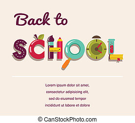 escola, conceito, texto,  -, costas, ícones, vetorial, fundo