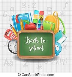 escola, concept., notepad, costas, livro, chalkboard, materiais, educação