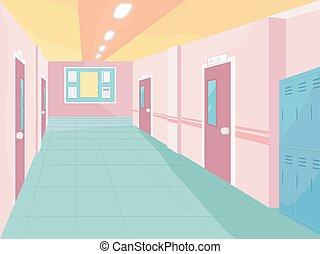 escola, corredor, ilustração