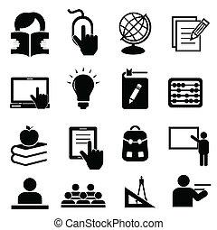 escola, costas, ícones