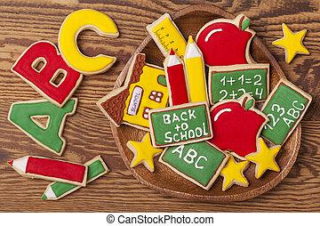 escola, costas, biscoitos