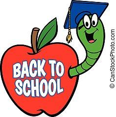escola, costas, bookworm, sinal
