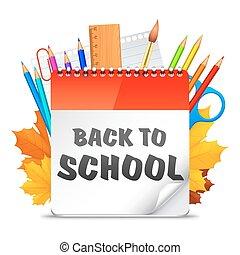 escola, costas, calendário