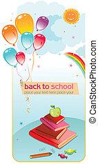 escola, costas, card.