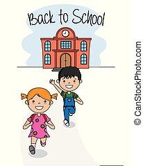 escola, costas, cartão