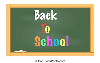 escola, costas, chalkboard