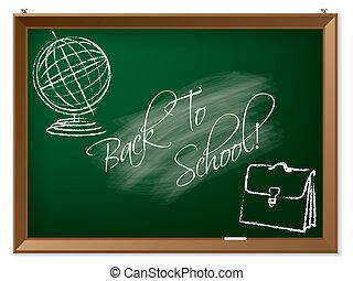 escola, costas desenho, chalkboard