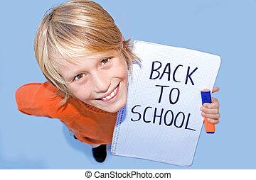 escola, costas, estudante, feliz