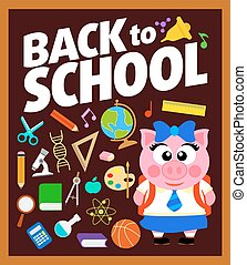 escola, costas, fundo, piggy