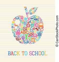 escola, costas, ilustração, maçã