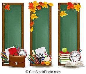 escola, costas, leaves., outono, vector., materiais, bandeiras, school.three