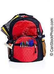 escola, costas, vermelho, pacote