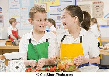 escola, cozinhar, classe, schoolchildren