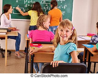 escola, criança, com, teacher.
