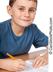 escola, criança, fazendo, dever casa