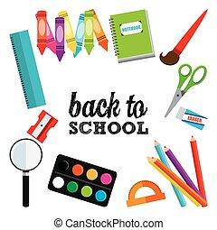 escola, desenho, costas