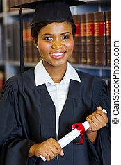 escola, deslumbrante, graduado, americano, africano, lei