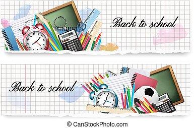 escola, dois, costas, experiência., papel, vector., materiais, bandeiras