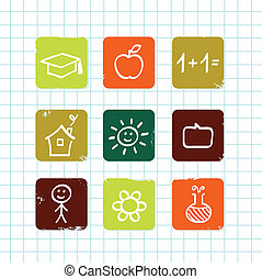 escola, &, doodle, ícones, isolado, cobrança, este prego, (, branca, educação