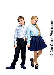 escola, duas crianças