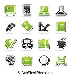 escola, e, educação, ícones