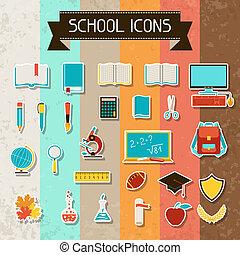 escola, e, educação, adesivo, ícones, set.