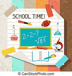escola, e, educação, fundo, com, pegajoso, papers.
