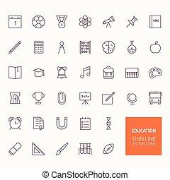 escola, Educação, costas, ícones