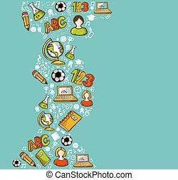 escola, educação, costas, icons., caricatura