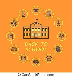 escola, educação, costas, ilustração, ícones