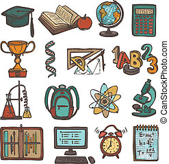 escola, educação, esboço, ícones
