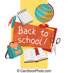 escola, Educação, fundo, costas, ícones