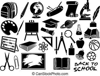 escola, educação, jogo, ícones