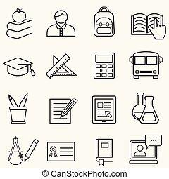 escola, educação, linha, costas, ícones