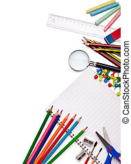 escola, educação, materiais, itens